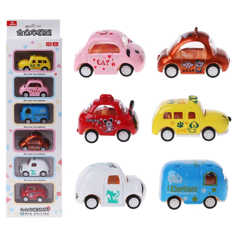 6PCS Alloy Car Model Cartoon Inertia Car Education Toy Gifts Baby Toy Kid Toy-M18