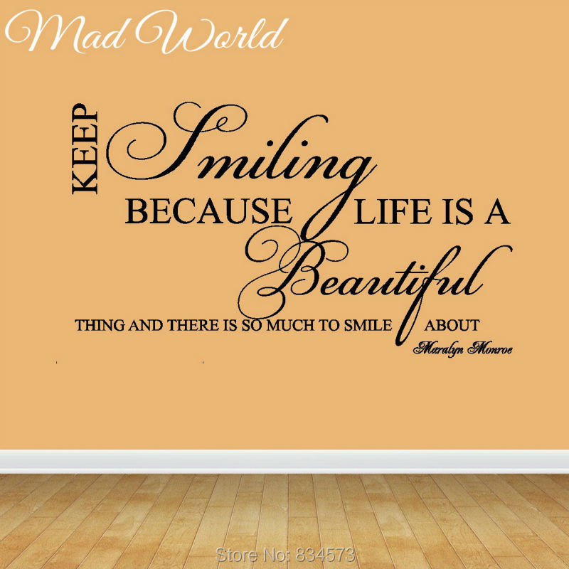Mad World Keep Smiling Life Is a Beautiful Quote Wall Art Stickers ...