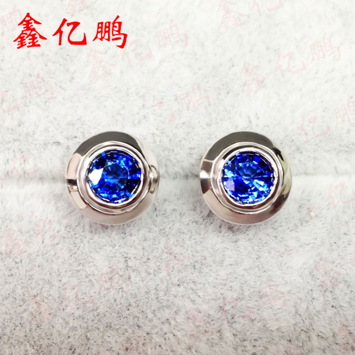 18 k gold inlaid natural sri lankan royal blue sapphire studs female 1.2 carats rights of sri lankan women migrant workers in middle east