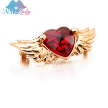 Miss Lady Heart Wing Brooches Red Love Heart Gold color Zircon Crystal Party Ornament Fashion Jewelry For Women MLY5783