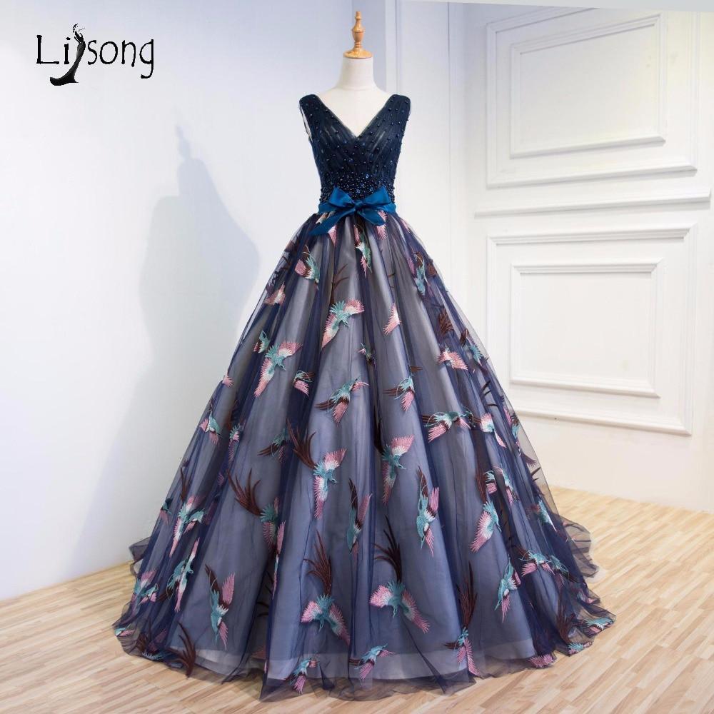 Элегантный Аппликации вечерние торжественные платья Птицы Темно-синие вечерние бальные платья Vestido De Noiva high end женщин вечернее платье