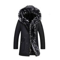 Новинка зимы бренд енота воротник Для мужчин парк пальто Для мужчин длинный отрезок утолщение плюс бархат Для мужчин/Для женщин зимняя курт