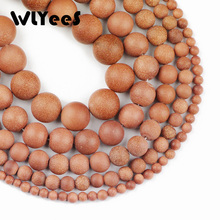 WLYeeS AAA High Quality Natural Matte Golden Sand Stone beads 4 6 8 10 12mm Round Ore Loose bead jewelry bracelet Making DIY 15