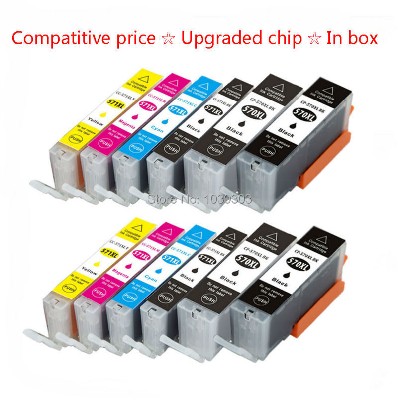 ФОТО 12Pack Compatible Ink Cartridge PGI 570 CLI 571 Inks For Canon PIXMA MG7750 MG7751 MG7752 MG7753 Printer Ink with Chips(4Black,