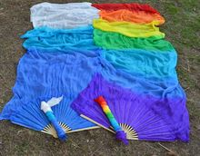 Flower printed new hot selling tie dye belly dance fan veils more size fan dance belly pair pink red orange green transportation
