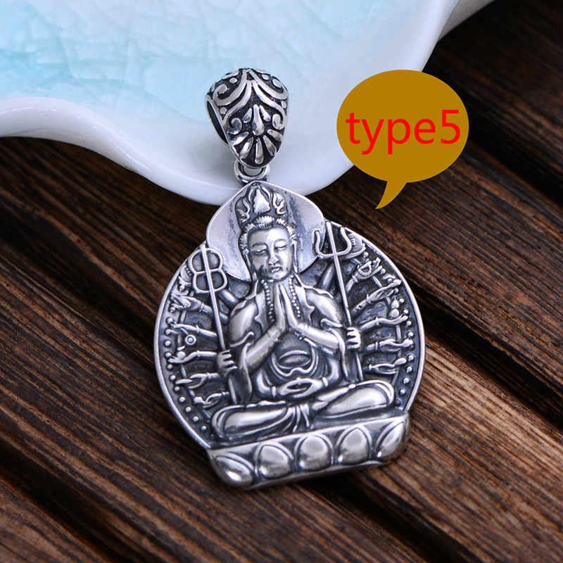 Real Pure 925 Sterling Silver Buddha รูปจี้สำหรับผู้ชายผู้หญิงแปดนักบุญอุปถัมภ์ Guardian Deity Colgante Plata