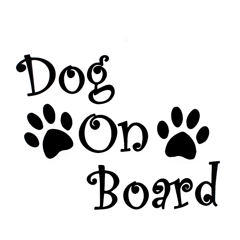 20cm*16.2cm Car Sticker DOG ON BOARD And Paw Prints Beautiful Vinyl Decals Car-styling RW-052 ...