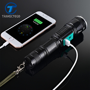 Image 1 - military police use flashlight waterproof T6 long range rechargeable LED light riding hunting torch tactical flashlight 18650