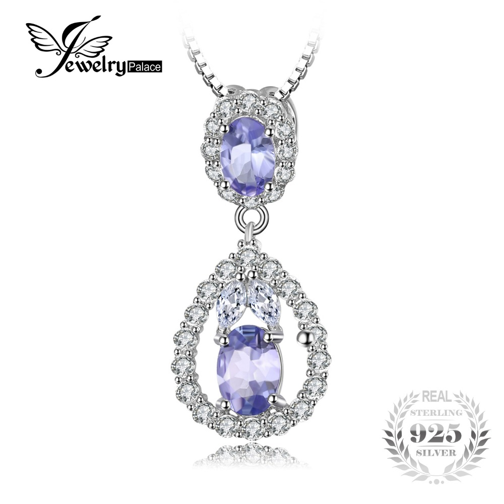 JewelryPalace Elegant 2.2ct Natural Tanzanite White Topaz Pendant For Women Real 925 Sterling Silver Jewelry Not Include A Chain