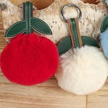 Симпатичный вишневый кролик Плюшевые брелок и брелок Мода Хлопок Фарширование мультфильм ПУ Листья Key Chain Творческий автомобиль Key Ring And Bag Pen