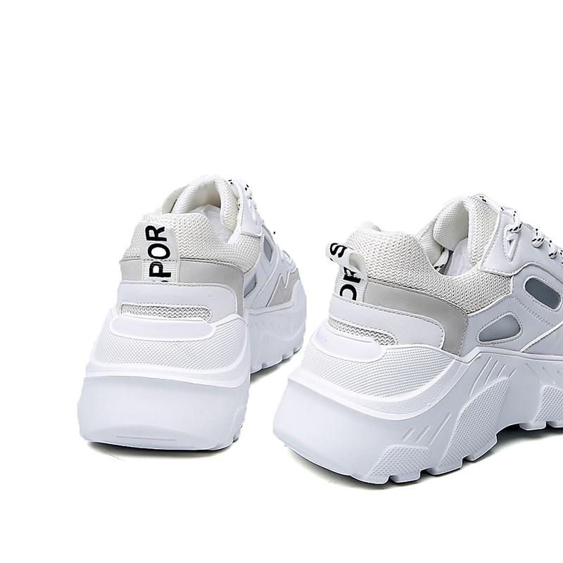 Sorriso Circle chunky scarpe da tennis della piattaforma Per le donne 2019 scarpe da tennis della piattaforma delle signore di Modo Lace up Piatto scarpe casual Bianco-in Ballerine da donna da Scarpe su  Gruppo 3