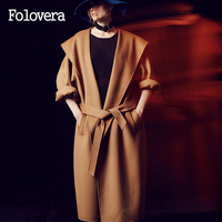 Folovera Women Camel Wool Coat Top Design New Long Jackets High Quality Plus Size Women S