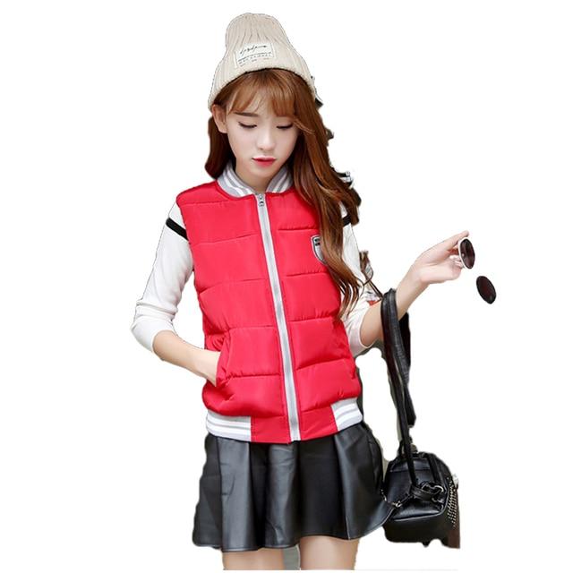 2016 New Autumn Winter Coat Women Solid Casual Waistcoat Female Sleeveless Cotton Vest Jacket ST239