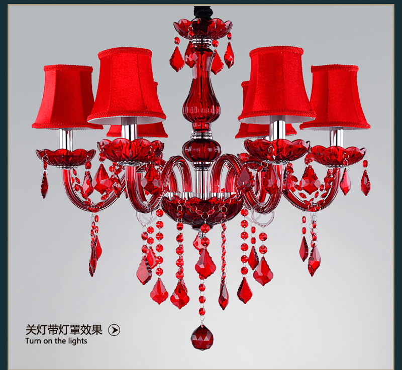 Fashion Luxury Europe Modern Chandelier Lighting Red Glass Re Crystal Light Home In Chandeliers From Lights