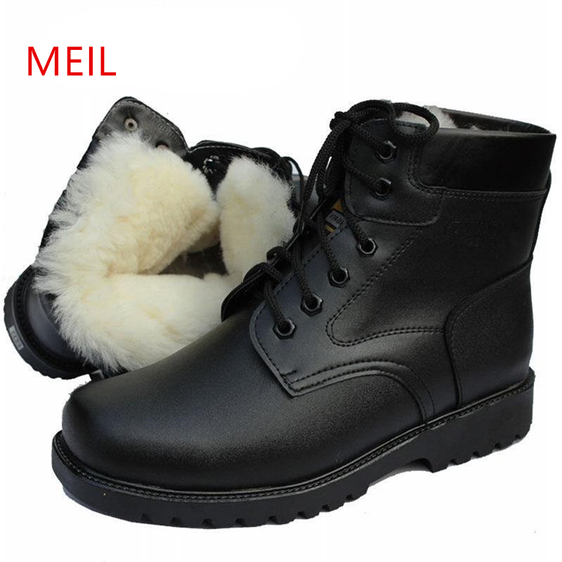 Brand Natural Wool Snow Boots Men Shoes Winter Military Boots Fashion Vintage Male Motorcycle Shoes High-Cut Men Casual Shoes