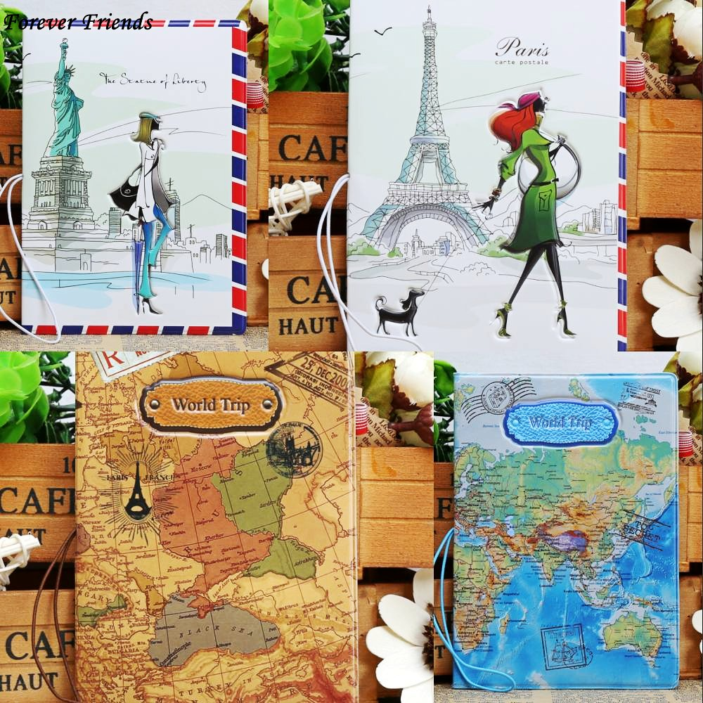 ForeverFriendsFashion PU Lear Passport Holder World Map Travel Passport Cover Case Brand Passport Holder Documents Folder Bag map design passport holder leather passport cover passport package travel card holder bag for travel with size14 9 6cm