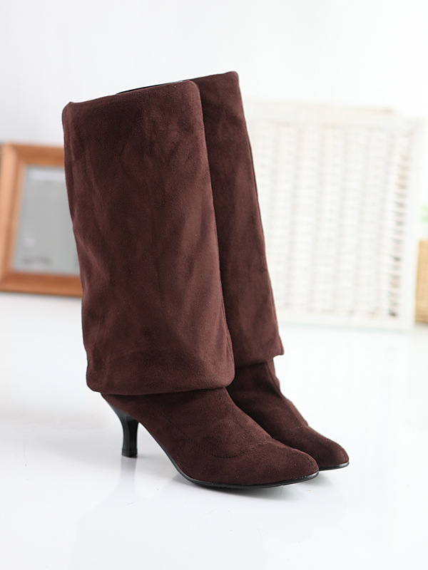 c6966f3a82e95 Estilo Boot Unidos brown Zapatos Invierno Señora Estados Calf Largas Grey  42 Mujeres Caliente 43 Moda Botas Rodilla Botines ...
