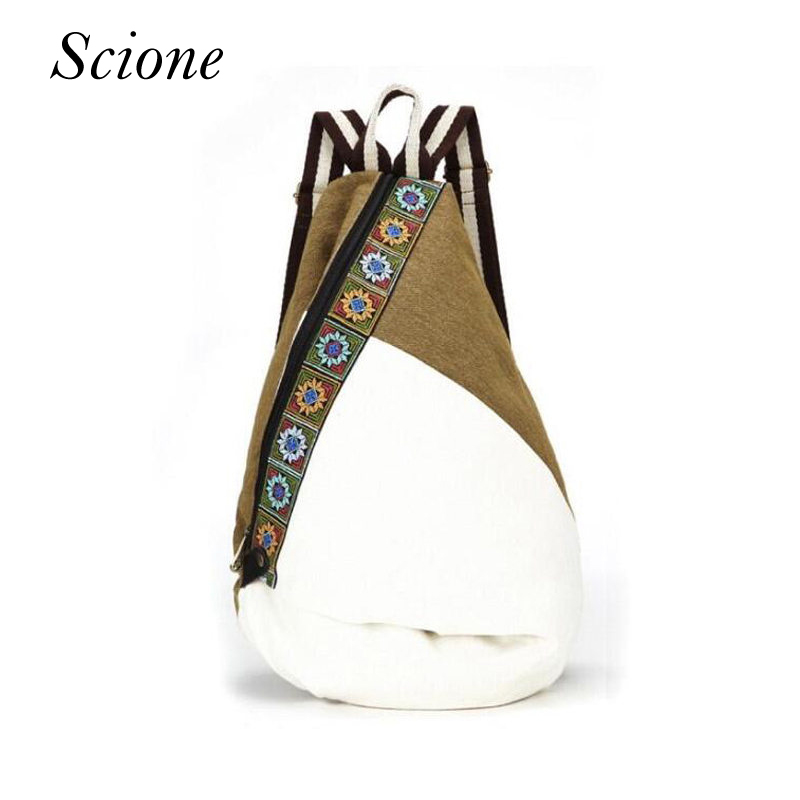 цена на 2018 Tribal Ethnic Embroidered Floral Canvas Backpack Women Travel Rucksack School Bag for teenagers Femme Aztec Backpack Li82