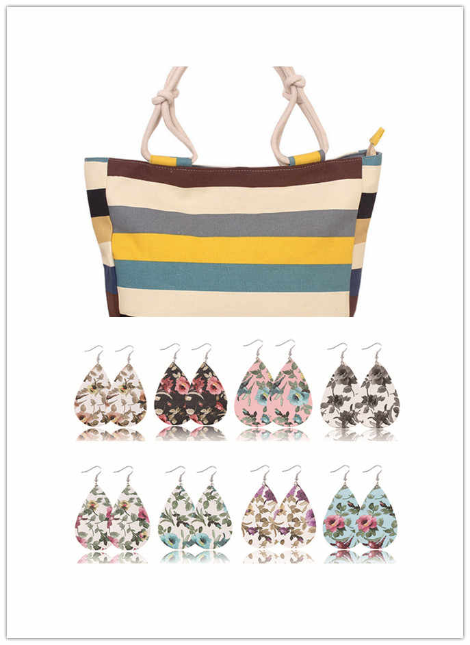 2018 Fashion Folding Women Big Size Handbag Tote Ladies Casual Flower Printing Canvas beach bag with 8 pairs earrings.