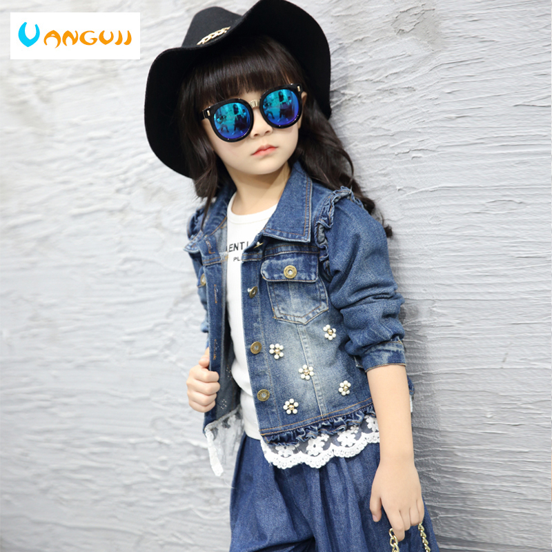girls autumn coat denim jacket for kids 3-11 years old Washed worn patch Pearl flower lace hem one size small all match outwear