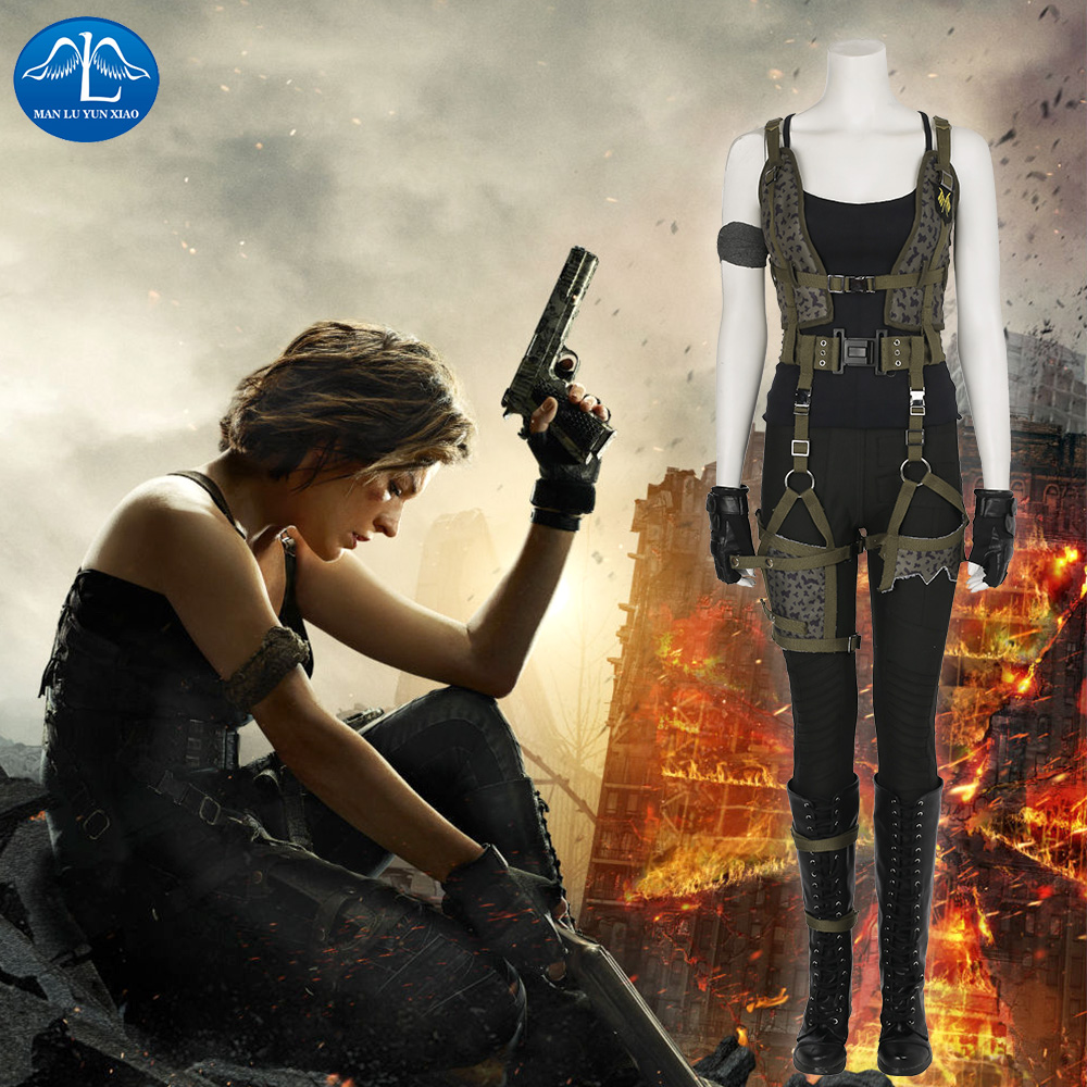 MANLUYUNXIAO Resident Evil The Final Chapter Alice Costume Women Halloween Alice Cosplay Costume For Women Wholesale Custom Made