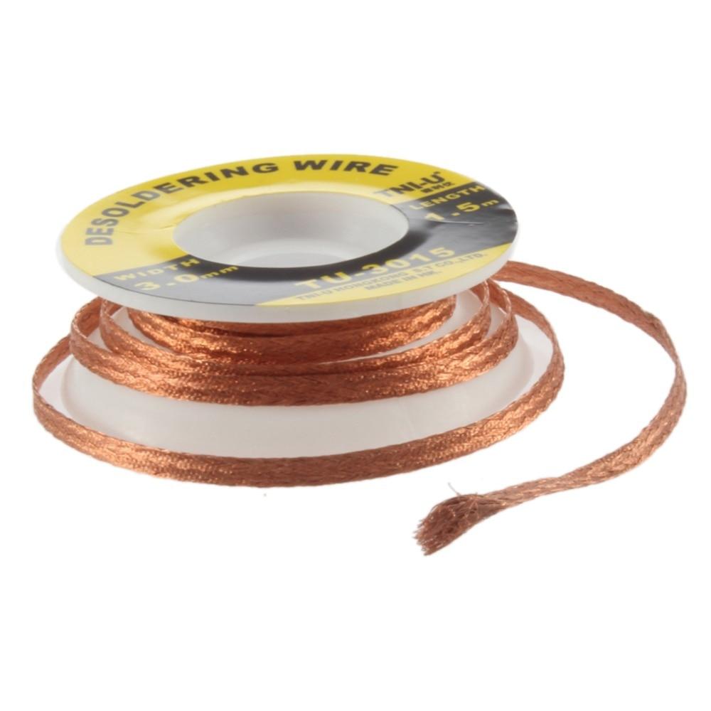 Security 5 Ft. 3 Mm BGA Desoldering Wire Braid Solder Remover Wick Soldering Accessory Metal Color Tin TU-3015