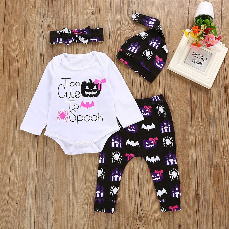 Baby Toddler Newborn Outfit Brand 2018 New Pumpkin Halloween Infant Romper +Leggings Pants+ Hat And Headband 4Pcs Clothing Set