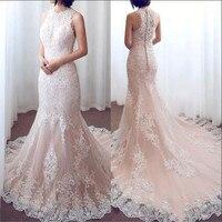 Плюс размеры полный кружево Винтажное свадебное платье для свадьбы Jewel средства ухода за кожей шеи суд поезд пикантные Свадебные платья с п