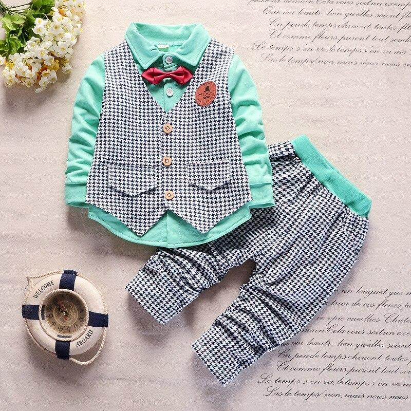 BibiCola baby boys clothes set spring autumn gentleman lattice suits vest+tops+pants 3pcs infant boys clothing set fashion suits