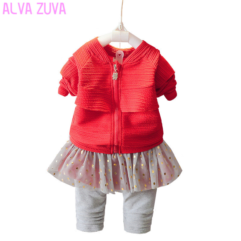 ALVA ZUVA New Spring Fashion Toddler Baby Girls Clothing Sets Kids Lace Jackets+Pants 2Pcs Suit Children Clothes Cyf084