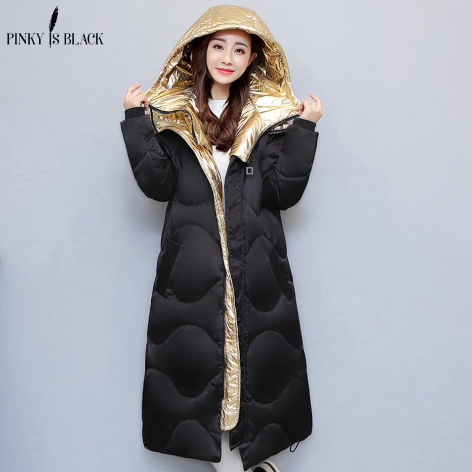 Pinky Is Black winter coat women 2017 snow wear hip hop gold silver spliced wadded jacket