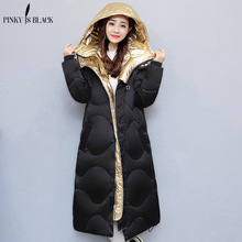 Pinky Is Black winter coat women 2017 snow wear hip hop gold silver spliced wadded jacket