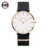 Ханна Мартин часы для женщин ультра тонкий кварцевые часы повседневное нейлон для мужчин наручные часы Relojes Mujer Баян коль Saati Montre Feminino