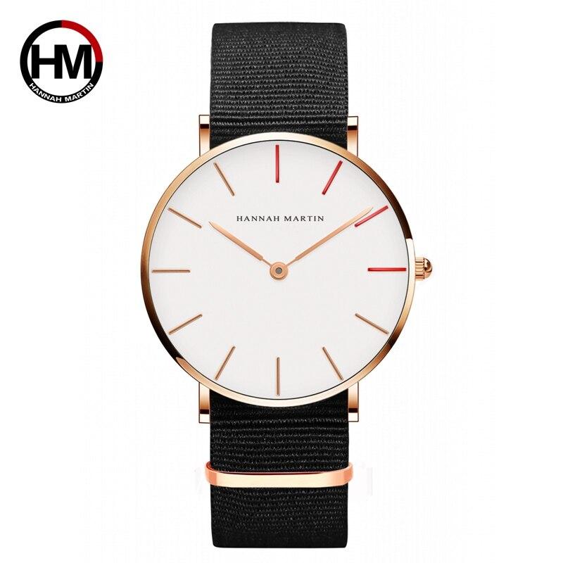 Hannah Martin Relojes Ultra delgado reloj de cuarzo Casual Nylon hombres Relojes Mujer Bayan Kol Saati Montre Feminino