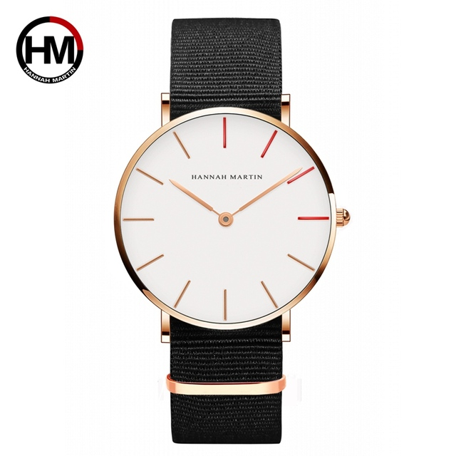 Hannah Martin Watches Women Ultra Slim Quartz Watch Casual Nylon Men Wristwatche