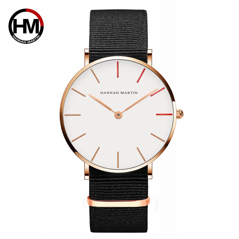 Hannah Martin Watches Women Ultra Slim Quartz Watch Casual Nylon Men Wristwatches Relojes Mujer Bayan Kol Saati Montre Feminino