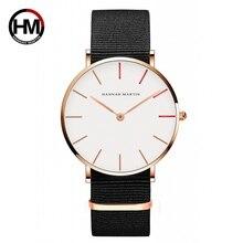 Ханна Мартин часы Для женщин ультра тонкий кварцевые часы Повседневное нейлон Для мужчин Наручные часы Relojes Mujer; Bayan коль Saati Montre Feminino