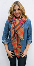 The Caramel Apple~Plaid Oversized Blanket Scarf Multi-Colored Tartan Scarf, Blizzard Protection, plaid scarf, blanket scarf