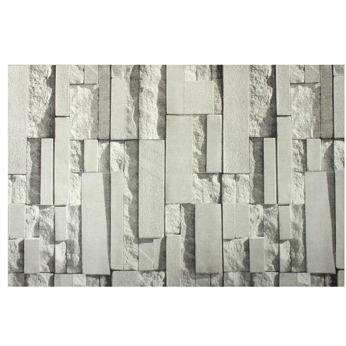 gris clair 3d stickers muraux brique motif texture non tiss papier peint autocollant tv fond. Black Bedroom Furniture Sets. Home Design Ideas