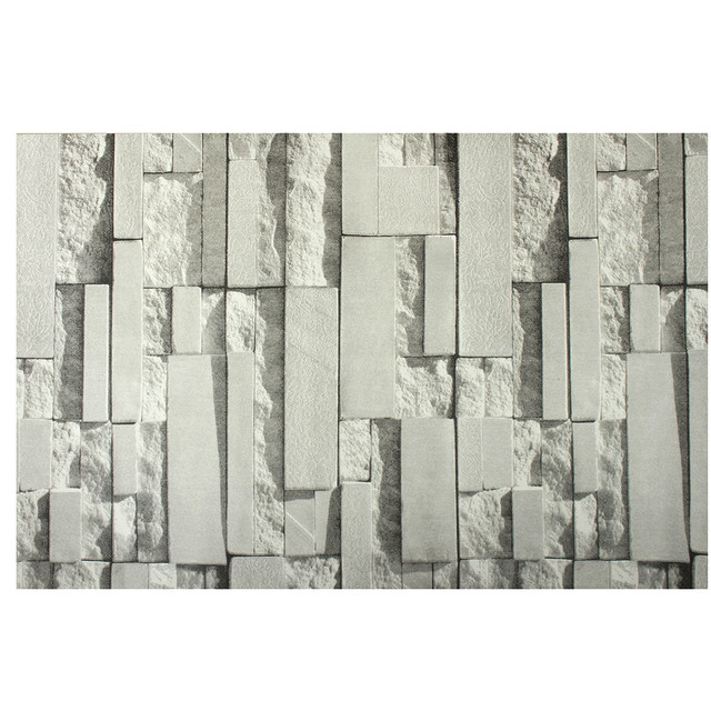 light gray 3d wall stickers brick pattern textured non woven