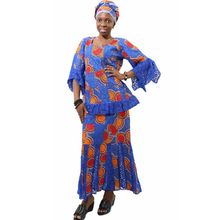MD dashiki african dresses for women bazin riche skirt short rapper with scarf three pieces one set south africa female clothing