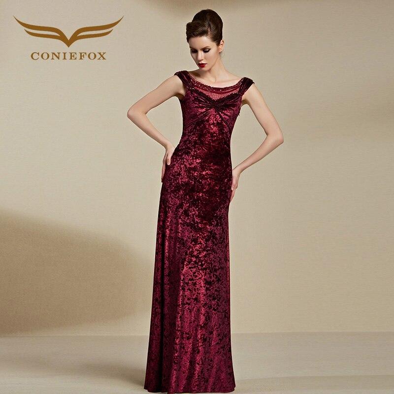Coniefox 82121 Sleeveless Red Low Back Woman Velvet Long Evening Dress