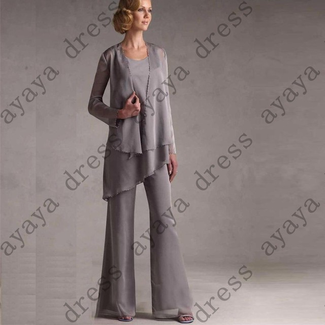 ebc40e7d4e8 wejanedress charcoal mother of the bride dress 2017 chiffon mother bride  formal pant suits Three peices wedding mother dress