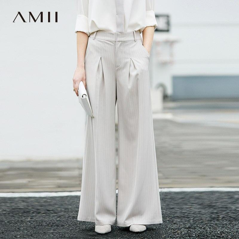 Amii Women Minimalist Wide Leg Pants 2019 Office Lady Strip High Waist Pleated Flare Female Trousers