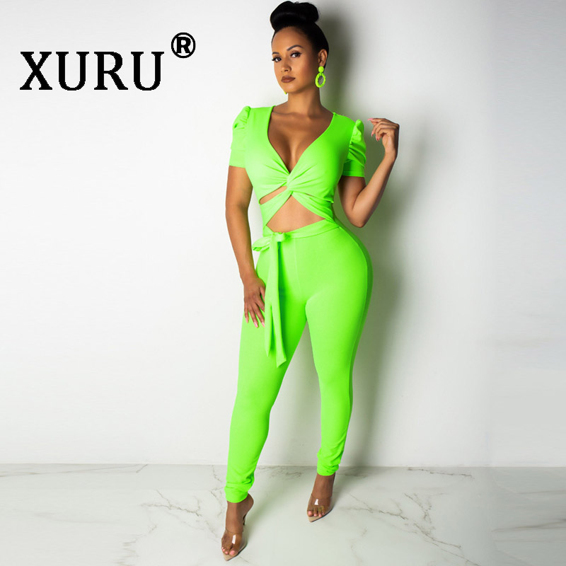 XURU Summer New Women 39 s Leotard Two piece Fashion Casual Deep V Strap Slim Short Sleeve Jumpsuit Orange Green Black Jumpsuit in Jumpsuits from Women 39 s Clothing