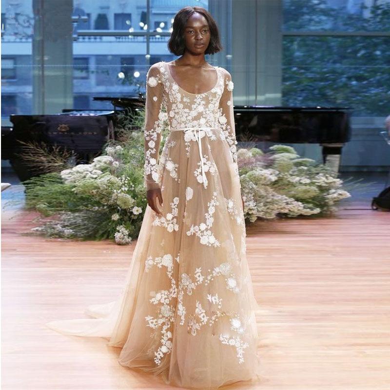 2017 Elegant African American Black Girl Wedding Dress: Vestidos De Noiva 2017 Champagne Long Sleeve Wedding