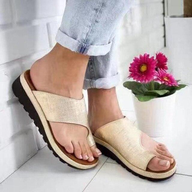 Kadın PU deri ayakkabı Rahat Platformu Düz Taban Bayanlar Rahat Yumuşak Büyük Ayak Ayak Düzeltme Sandal Ortopedik Bunion Düzeltici
