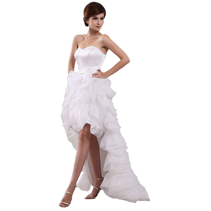 High Low Short Front Long Back Wedding Dresses Real Photo Organza Bridal Dress Princess Wedding Gowns Marriage Custom Made Size in Wedding Dresses from Weddings Events