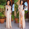 Adogirl Women Long Sleeve Deep V Neck Sequined Dress High Slit Top Fashion Floor Length Plus Size XL Sexy Party Women Dresses