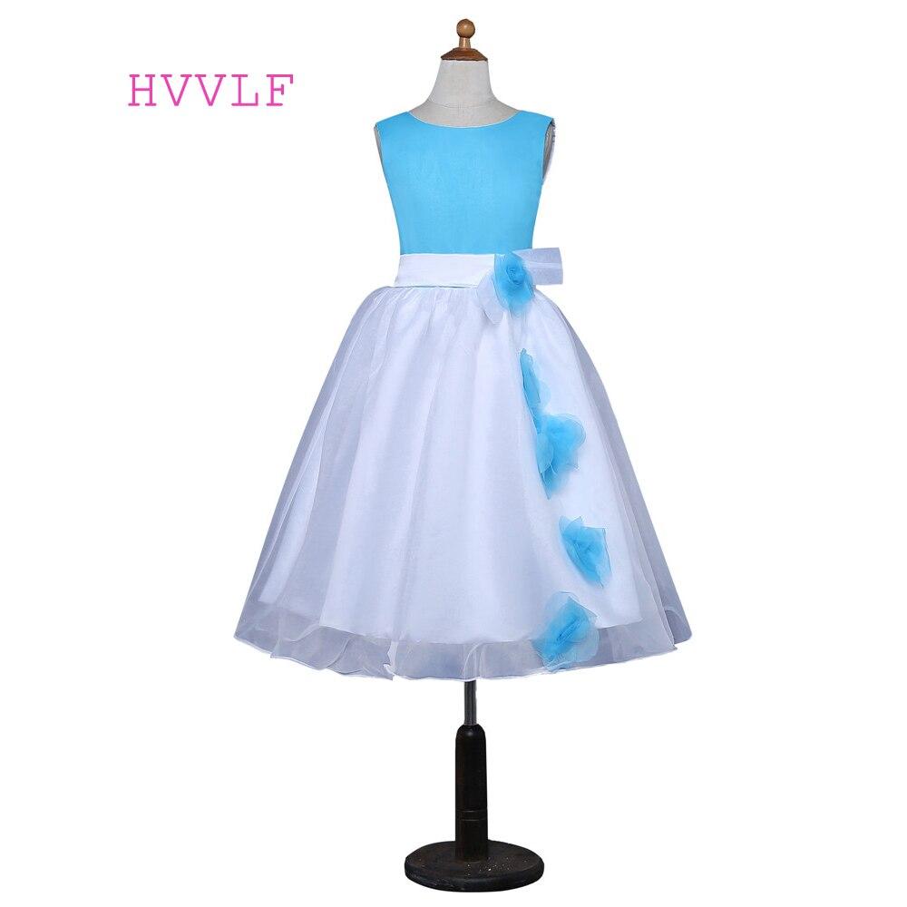 Blue 2019   Flower     Girl     Dresses   For Weddings Ball Gown Cap Sleeves Satin Bow First Communion   Dresses   For Little   Girls